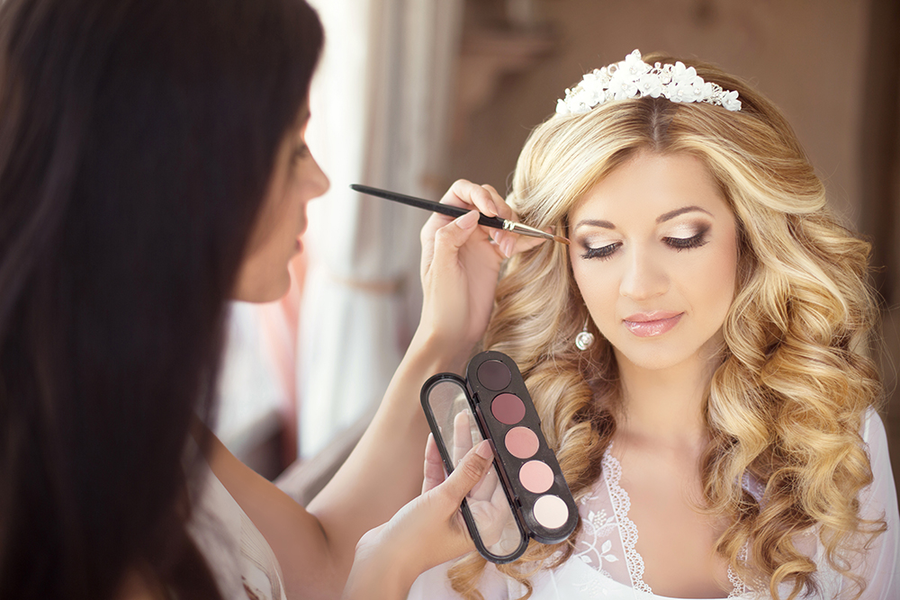 Beautiful Bride Wedding With Makeup And Curly Hairstyle Stylist