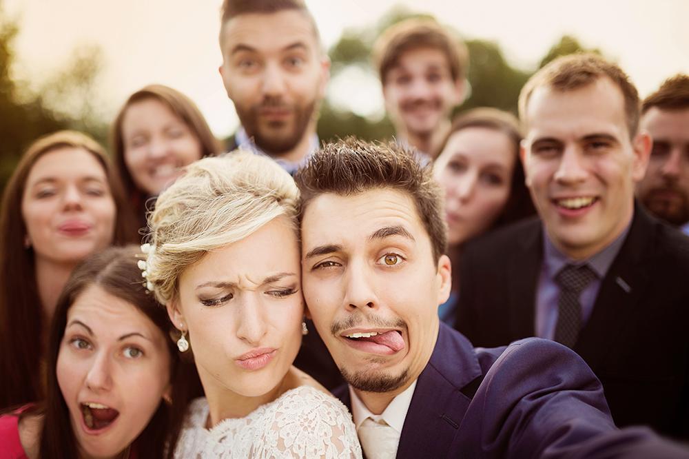 lustige Hochzeitsfotos Grimasse